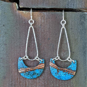 Copper Patina Earrings with Sterling Silver Teardrop Hoop,Earrings,Kristin Christopher