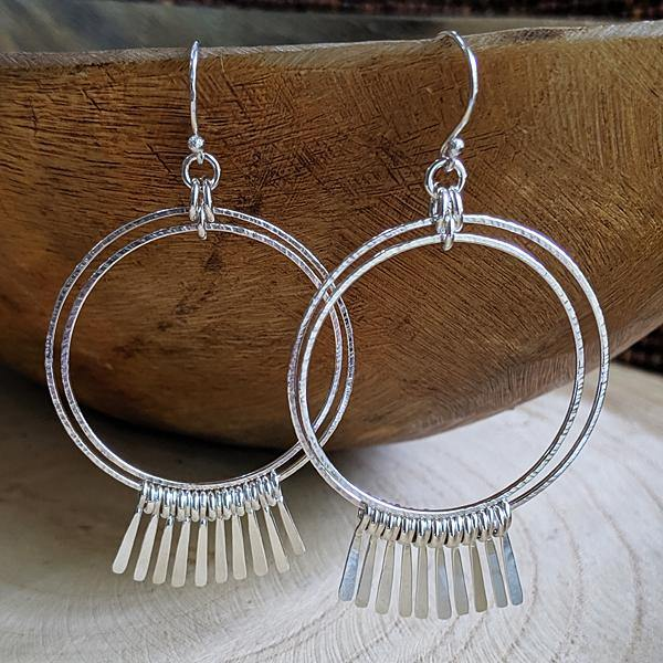 Sterling Silver Double Hoop Fringe Earrings - Large,Earrings,Kristin Christopher - Handmade Jewelry
