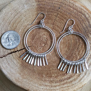 Sterling Silver Double Hoop Fringe Earrings - Large,Earrings,Kristin Christopher