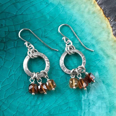 Sterling Silver Hoop Earrings with Hessonite Garnet Gemstones