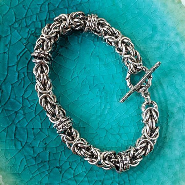 Sterling Silver Byzantine Chainmail Bracelet with Hand-stamped Spinners,Bracelet,Kristin Christopher - Handmade Jewelry