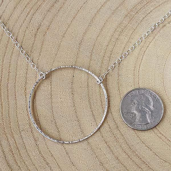 Sterling Silver Hammered Circle Necklace,Pendant,Kristin Christopher - Handmade Jewelry