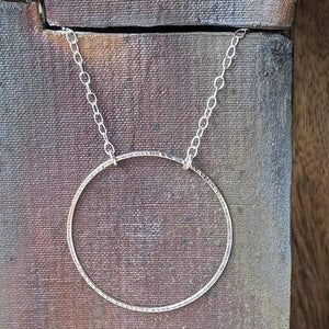 Sterling Silver Hammered Circle Necklace,Pendant,Kristin Christopher