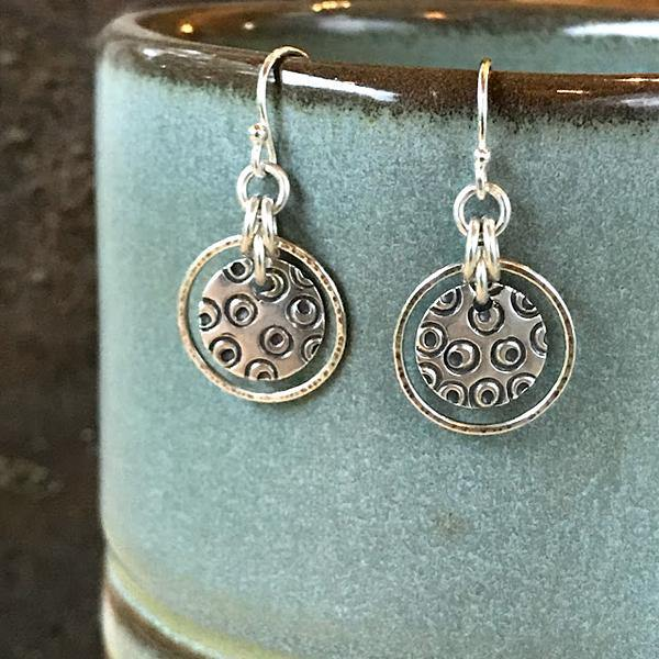 Sterling Silver Hand-Stamped Circles - Hoop Earrings,Earrings,Kristin Christopher