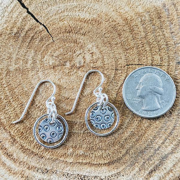 Sterling Silver Hand-Stamped Circles - Hoop Earrings,Earrings,Kristin Christopher - Handmade Jewelry
