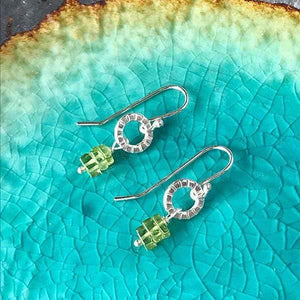Sterling Silver Earrings -- Tiny Hoops with Peridot,Earrings,Kristin Christopher - Handmade Jewelry
