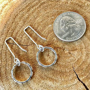 Sterling Silver Hand-stamped Hoop Earrings,Earrings,Kristin Christopher - Handmade Jewelry