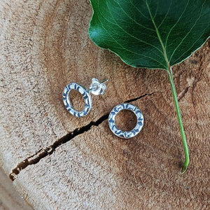 Sterling Stamped Circle Post Earrings -- Medium
