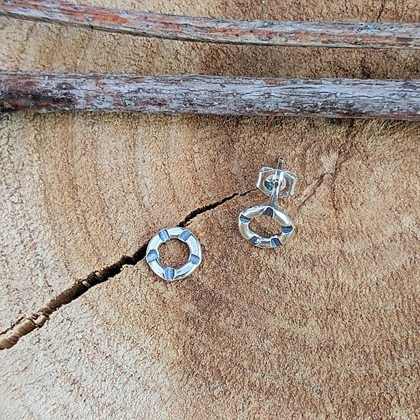 Sterling Stamped Circle Post Earrings -- Small