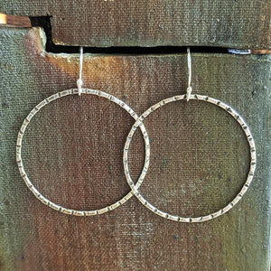 Sterling Silver Hand-Stamped Hoop Earrings - Medium,Earrings,Kristin Christopher