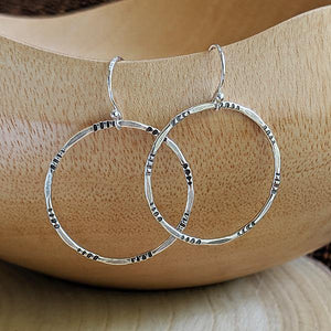 Sterling Silver Hand-Stamped Hoop Earrings - Small,Earrings,Kristin Christopher