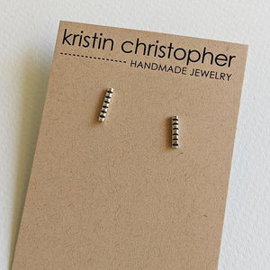 Sterling Silver Hand-Stamped Post Earrings - Bars,Earrings,Kristin Christopher