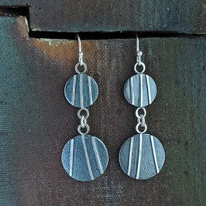 Sterling Silver Patina Earrings - Double Circles,Earrings,Kristin Christopher