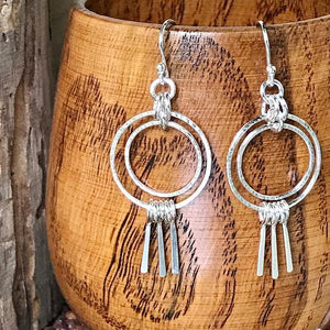 Sterling Silver Double Hoop Fringe Earrings - Small,Earrings,Kristin Christopher - Handmade Jewelry