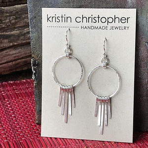 Sterling Fringe Hoop Earrings,Earrings,Kristin Christopher - Handmade Jewelry