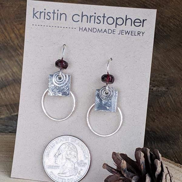 Sterling Combo Hoop Earrings with Garnet,Earrings,Kristin Christopher - Handmade Jewelry