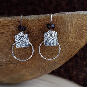 Sterling Combo Hoop Earrings with Garnet,Earrings,Kristin Christopher