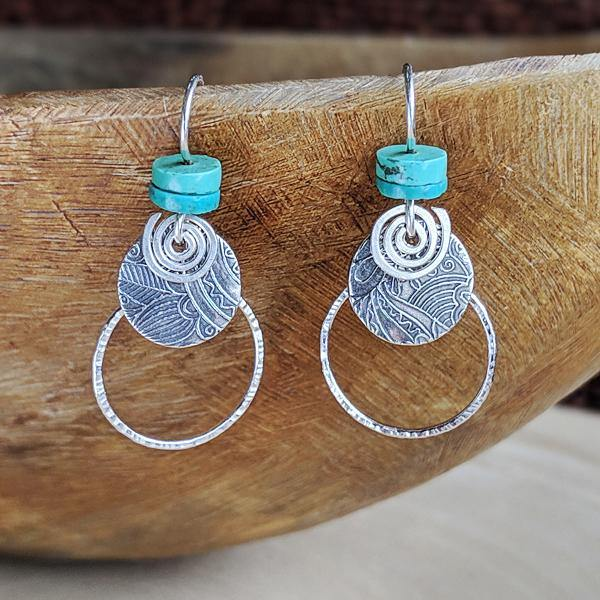 Sterling Combo Hoop Earrings with Turquoise,Earrings,Kristin Christopher