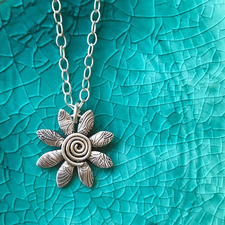 Daisy Necklace - Sterling Silver Flower with Spiral
