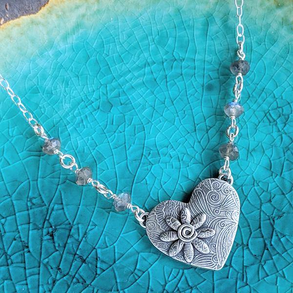 Let Your Heart Speak Sterling Silver Reversible Necklace,Pendant,Kristin Christopher - Handmade Jewelry