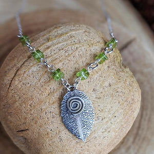 "Sterling and Perdiot ""Inspire"" Leaf Necklace,Pendant,Kristin Christopher - Handmade Jewelry"