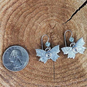 Sterling Silver Butterfly Earrings with Aqua Marine,Earrings,Kristin Christopher - Handmade Jewelry