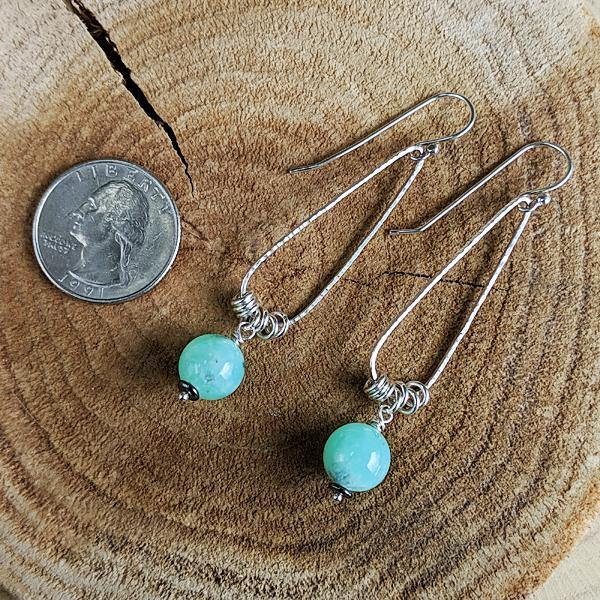 Sterling Silver Teardrop Hoops with Chrysoprase,Earrings,Kristin Christopher - Handmade Jewelry