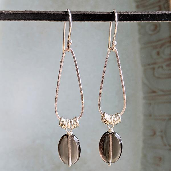 Sterling Silver Teardrop Hoops with Smoky Quartz,Earrings,Kristin Christopher - Handmade Jewelry