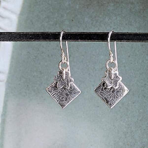 Sterling Silver Earrings with Tiny Flowers,Earrings,Kristin Christopher - Handmade Jewelry