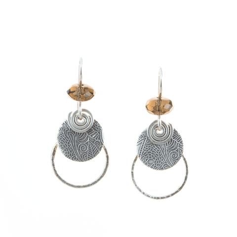 Sterling Combo Earrings with Smoky Quartz Beads,Earrings,Kristin Christopher - Handmade Jewelry