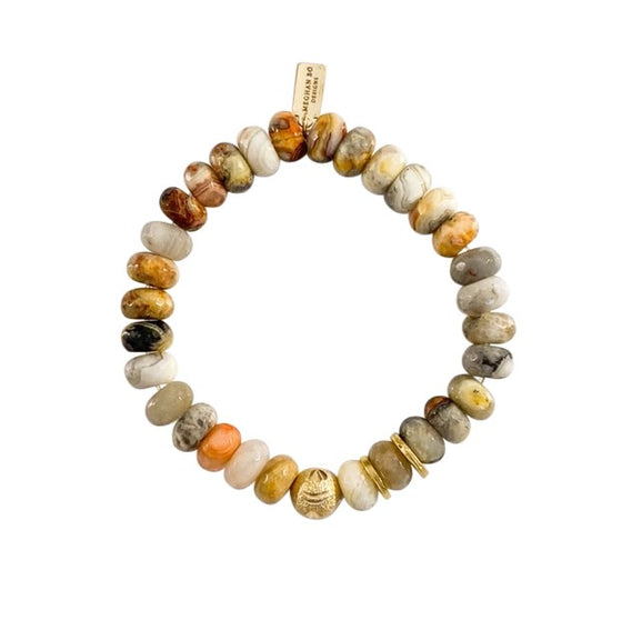 Aquatic Agate Beaded Bracelet - meghan-bo-designs with neutral and gold accessories