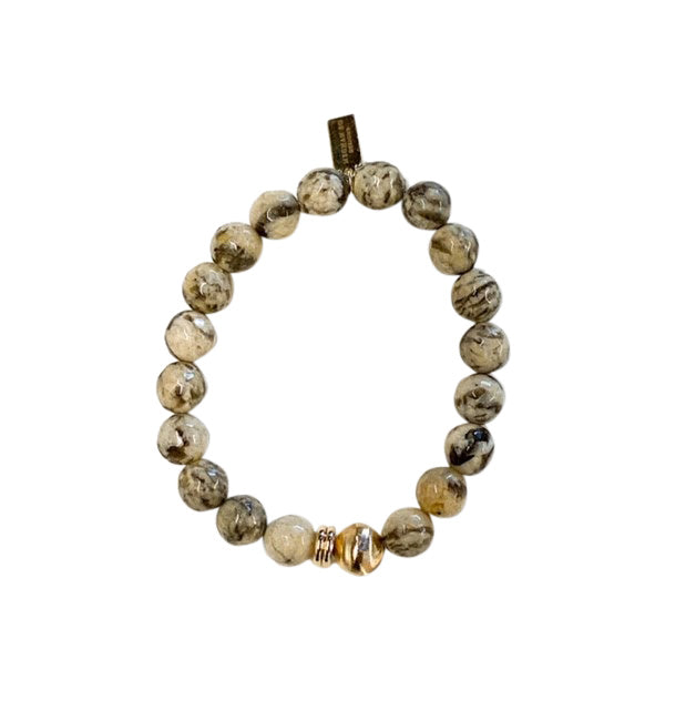 Beaded stretch bracelet with Autumn Jasper beads with tones of grays, browns and gold from Meghan Bo Designs.