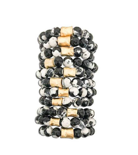 Black and White Essential Oil Beaded Stretch Bracelet - meghan-bo-designs