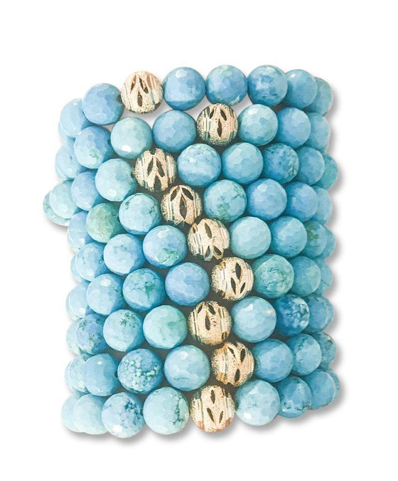 Blue Turquoise and gold beaded stretch bracelet stack by Meghan Bo Designs.