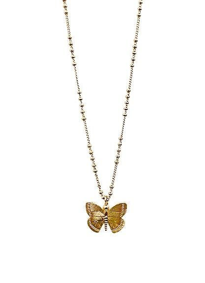 Meghan Bo Designs gold Butterfly Necklace.