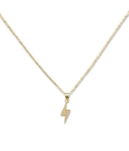 Dainty cubic zirconia lightning bolt necklace on a vermeil chain by Meghan Bo Designs.