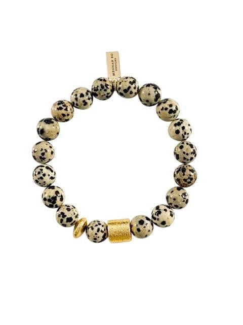 Dalmatian Jasper gemstone beaded stretch bracelet with brushed gold accents and black and tan beads by Meghan Bo Designs.