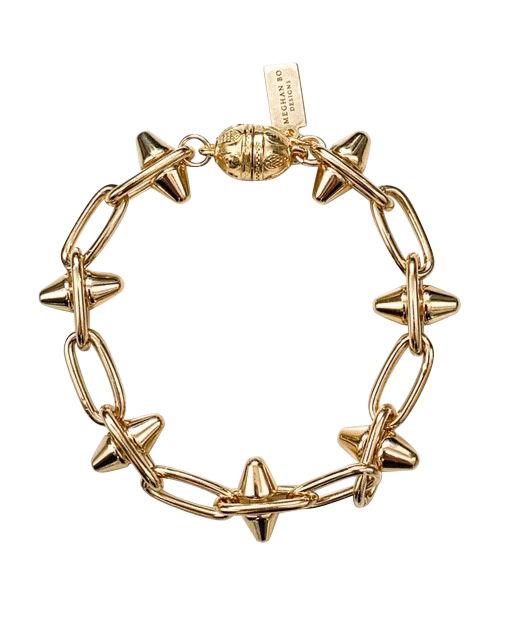 Heavy gold overlay Dame spiked Bracelet by Meghan Bo Designs with a heavy duty magnetic clasp.