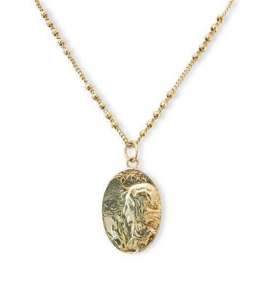 A gold medallion pendant with a woman blowing a dandelion flower and a gold fill ball chain by Meghan Bo Designs.