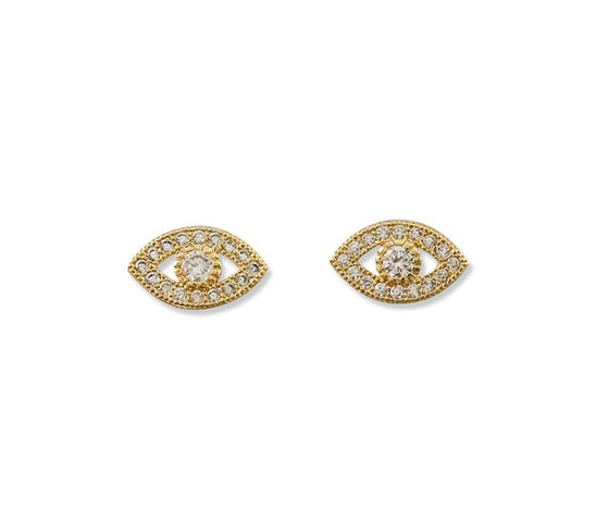 Evil Eye cubic zirconia stud earrings by Meghan Bo Designs.