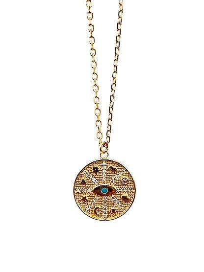 Meghan Bo Designs Fortune coin medallion necklace with symbols; elephant, hamsa hand, peace sign, star and moon.