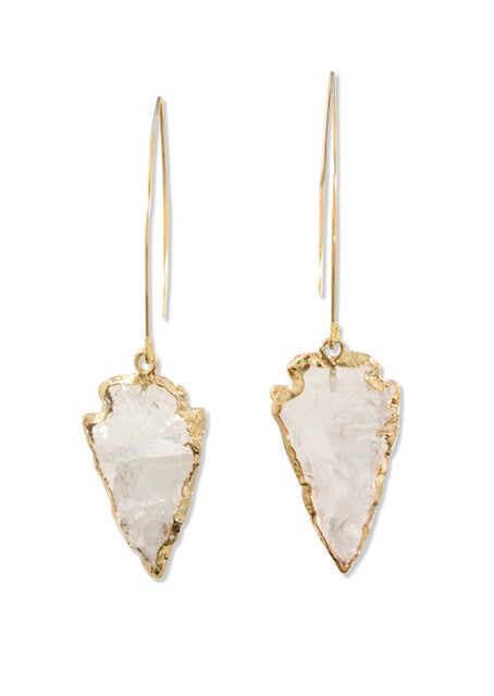 quartz Arrowhead Gemstone Earrings by meghan-bo-designs
