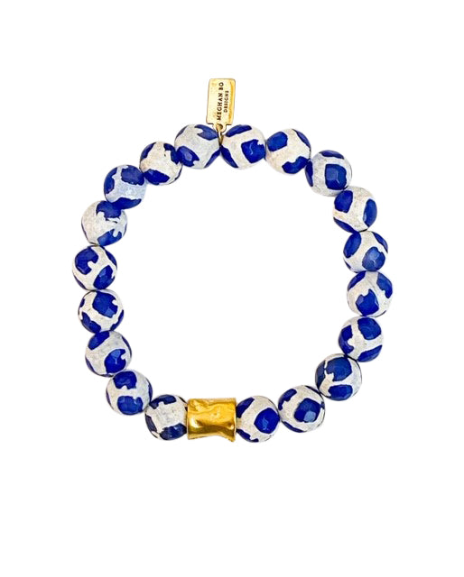 Blue Tibetan Agate Beaded Bracelet