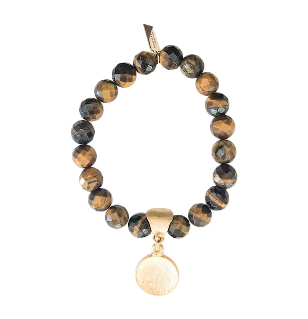 Tiger Eye Saturn Beaded Stretch Bracelet - meghan-bo-designs