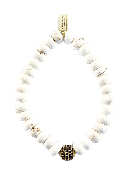 White Howlite Beaded Bracelet - meghan-bo-designs