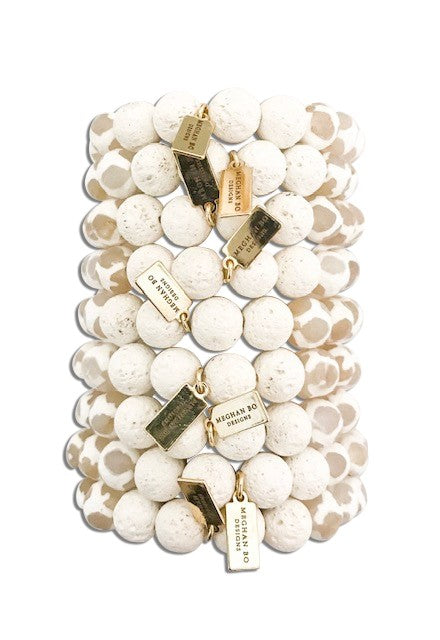 White Essential Oil Beaded Stretch Bracelet - meghan-bo-designs