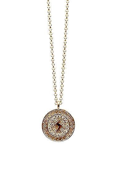 Long gold lightning bolt medallion cubic zirconia necklace by Meghan Bo Designs.