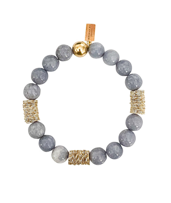 Gray jade beads with gold fill accent beads made by Meghan Bo Designs.