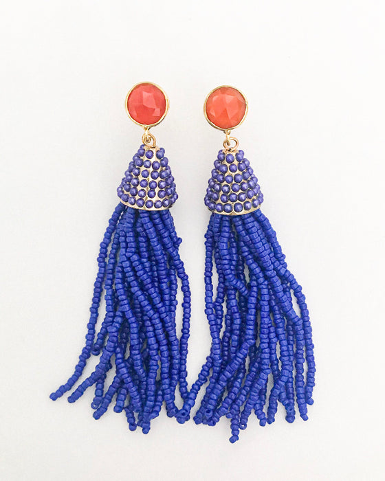 Miami Beaded Tassel Earring-Blue - meghan-bo-designs