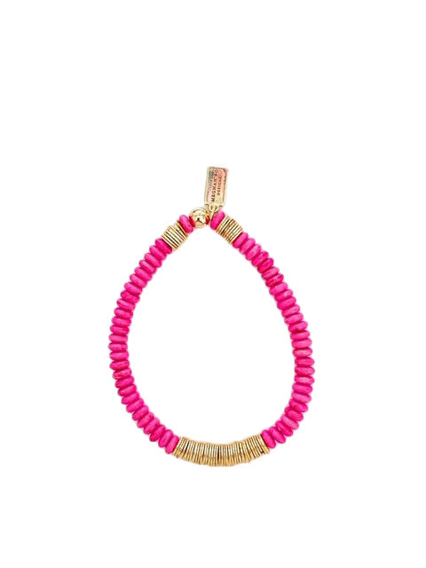 Pink and Gold Beaded Bracelet
